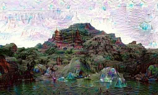 Google's dreaming bot at work on mountains