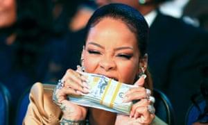 She's in the money: Rihanna at the BET awards.