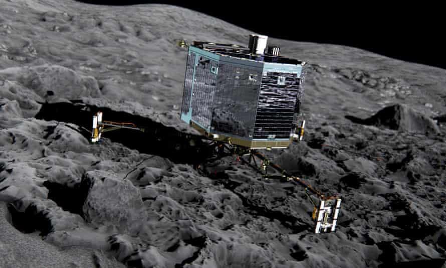 An artist's impression of Rosetta's lander Philae (front view) on the surface of comet 67P/Churyumov-Gerasimenko.