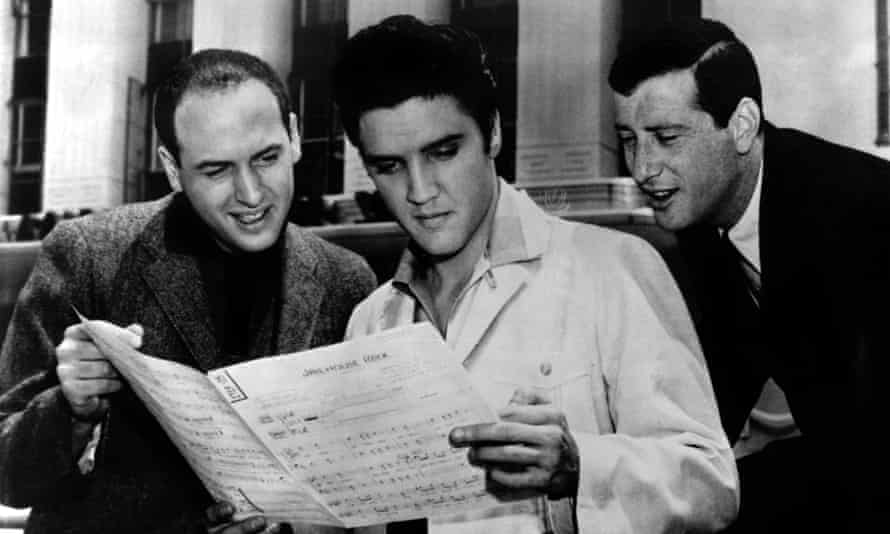 Jerry Leiber with Elvis Presley and Mike Stoller.