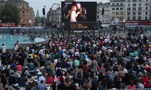 Crowds in front of BP big screen In Trafalgar Square, London