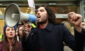 On message … comedian Russell Brand