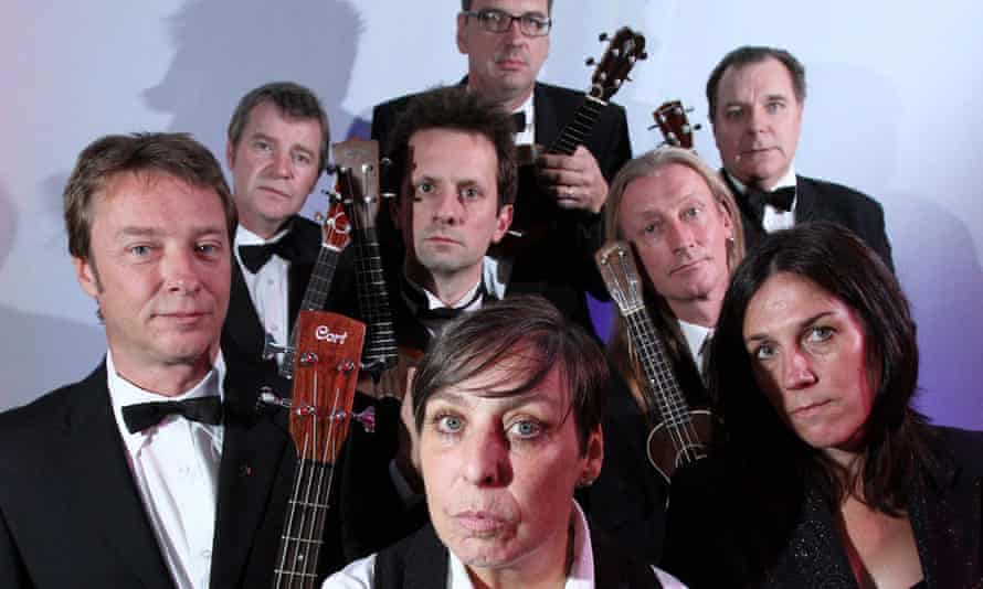 George Hinchliffe, pictured rear right, who founded the Ukulele Orchestra of Great Britain, had complained fans had started booking seats at the wrong concerts.