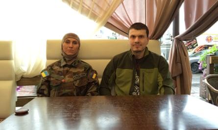 Amina Okuyeva and Adam Osmayev of the Dzhokhar Dudayev battalion, in Kiev.
