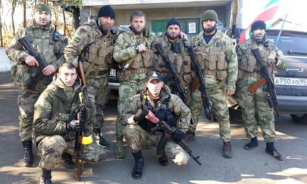 Chechens fighting on the side of the pro-Russian rebels, taken in Donetsk. Apti Bolotkhanov is in the back row, third from left.