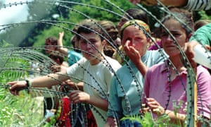 Refugees from Srebrenica at a UN base 60 miles north of Sarajevo in 1995.