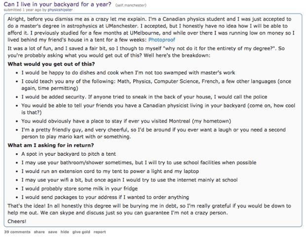Evan Eaves makes his appeal on Reddit