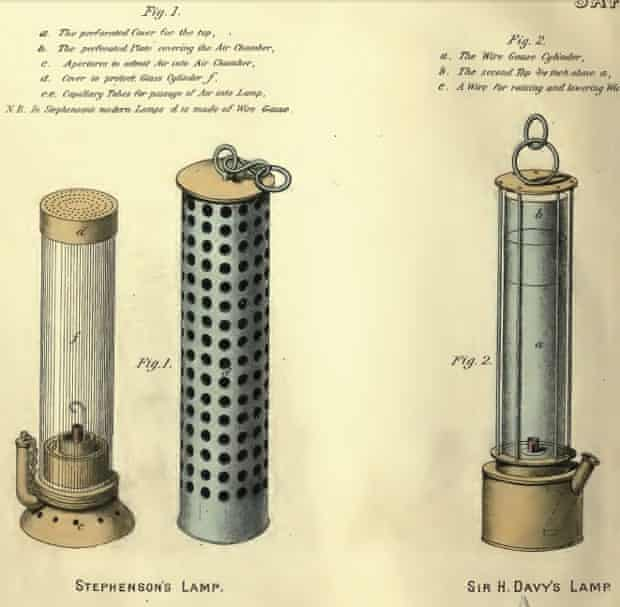 Stephenson's and Davy's safety lamps