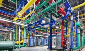 Pipes carrying water at a Google Data Center
