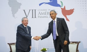 Barack Obama and Raul Castro shake hands during a meeting at the Summit of the Americas in Panama City.