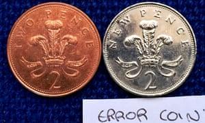Rare silver 2p coin