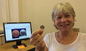 Becky Jennings with the silver 2p coin