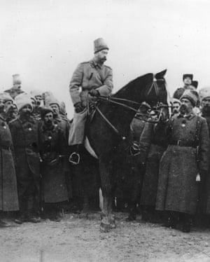 Tsar Nicholas Cossack uniform, inspecting Cossacks.