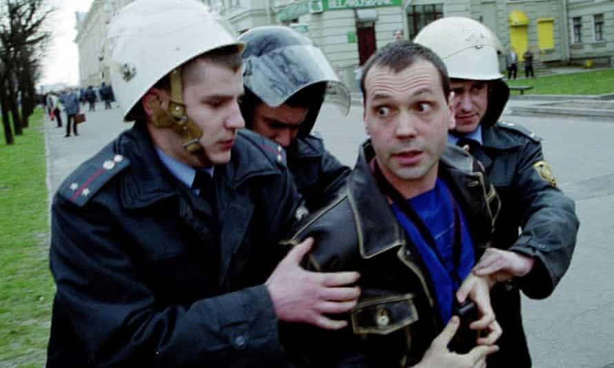 Belarusian riot police detain opposition journalist Oleg Bebenin in Minsk, Belarus in a photo released in 2010.