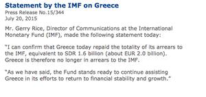 IMF statement on Greece