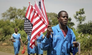 A vendor sells American flags ahead of president Obama's first trip as president to Kenya later this week.