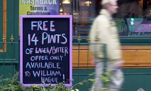 Free 14 pints for William Hague - pub sign