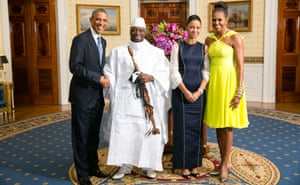 President Yahya Jammeh with Barack and Michelle Obama at the White House in 2014.