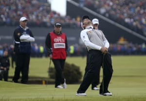 Louis Oosthuizen reacts after missing a vital putt on the 17th during the play-off.