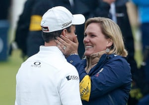 Zach Johnson celebrates his victory with his wife Kim.