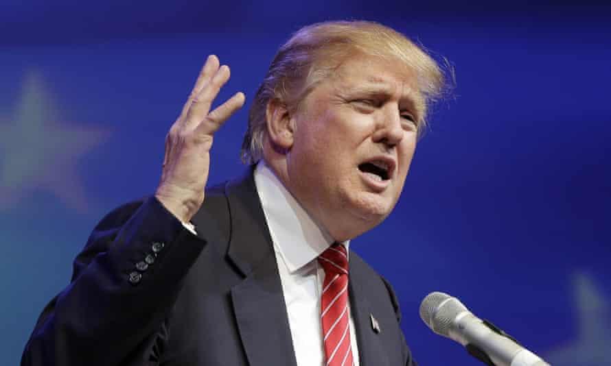 Donald Trump speaks at the Republican Party of Arkansas Reagan Rockefeller dinner in Hot Springs.