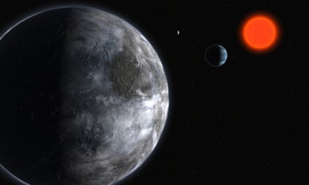 Artist's impression of a red Super-Earth in the planetary system around Gliese 581. More than 20 light years away from Earth, it is believed to be the most intriguing world found so far in the search for extraterrestrial life.