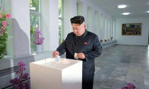North Korean leader Kim Jong-Un voting in the election this week.