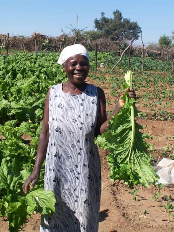 A farmer from the  Mazuru market garden with her crops.