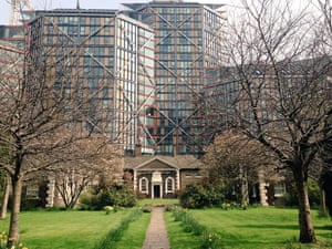 Neo Bankside looms over the neighbouring 18th-century almshouses.