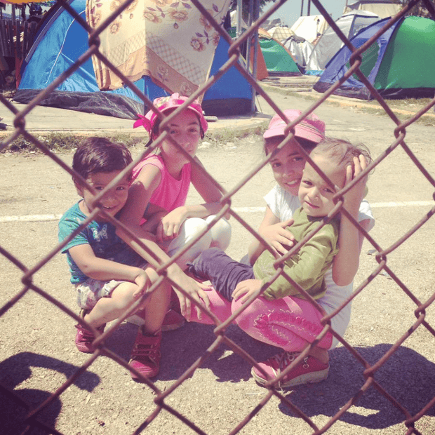 No place for children: makeshift site in Lesvos with an estimated 5,000 refugees today.