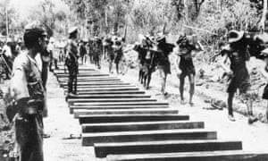 Forced labour: Allied PoWs working on the Burma railway.
