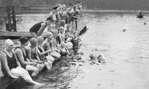 Connie Gillhead trains for her attempt on the Channel in the Serpentine, which had just been opened for women swimmers under the Lansbury scheme, June 1930.