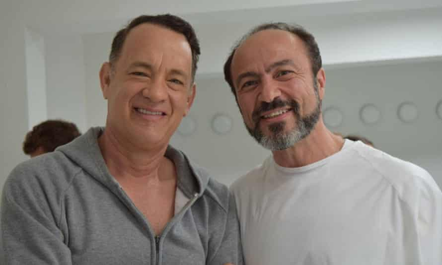 Tom Hanks and co-star Jay Abdo during filming.