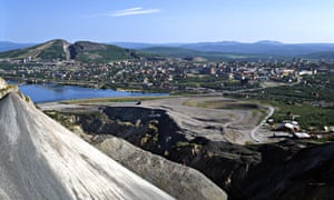 The city of Kiruna as seen from its mine.