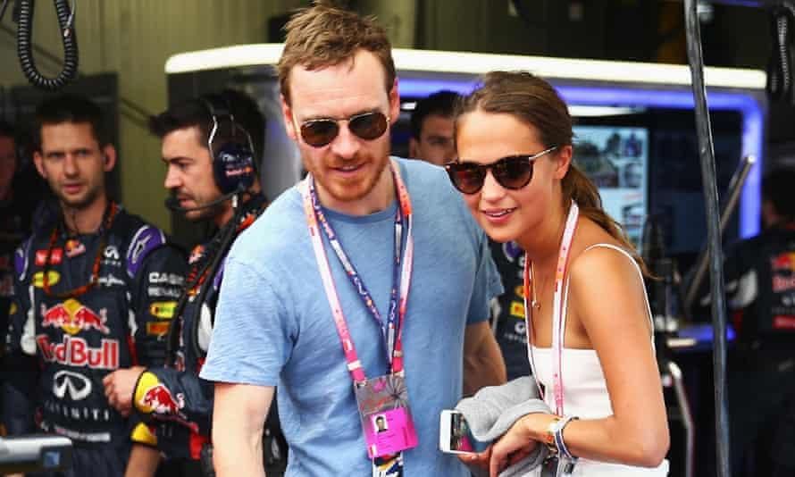 Co-stars Michael Fassbender and Alicia Vikander at the Formula One Grand Prix at Monaco.