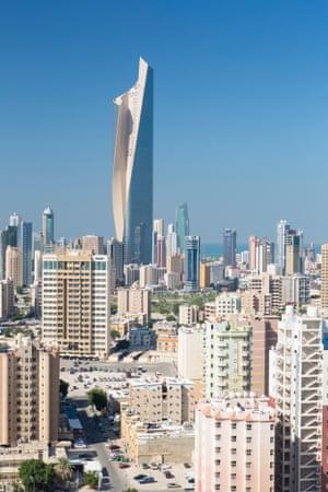Kuwait City's abundance of concrete and asphalt accentuates its high temperatures.