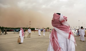 A sandstorm hits Riyadh in Saudi Arabia. It is already difficult to breathe in some of the Middle East's largest cities, according to a World Bank report