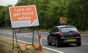 Road sign: Let's all get home safely