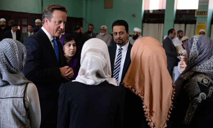 David Cameron visiting a mosque in Manchester in 2013