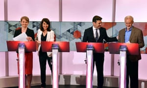 Yvette Cooper, Liz Kendall, Andy Burnham and Jeremy Corbyn during a Labour leadership debate on BBC1