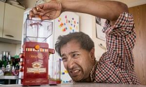 Rhik tries the peanut butter maker.