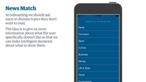A concept where the Guardian app could let the reader pick what subjects they wanted on their homepage and navigation.