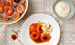 Poached apricots with ginger wine and honey ricotta
