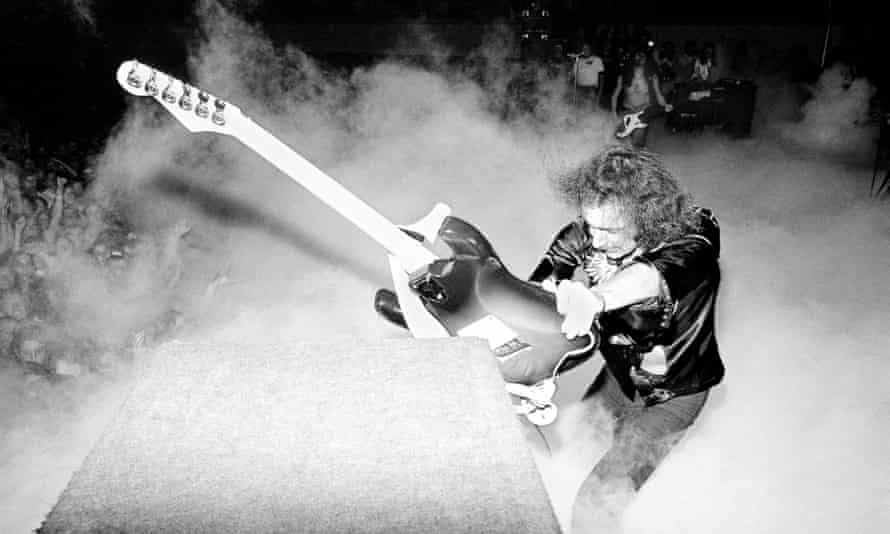 Ritchie Blackmore … Taking umbrage at his guitar in his Deep Purple days.