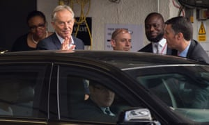 Tony Blair leaves the Institute of Chartered Accountants  in the City of London, where he spoke at a Progress event about the Labour leadership contest.