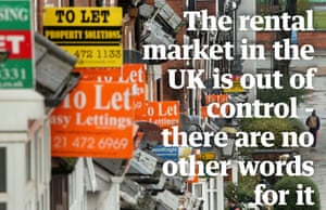 To let signs with quote, 'The rental market in the UK is out of control.'