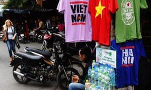 tourist merchandise stall in Hanoi