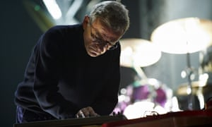 Dieter Moebius of Cluster performs on stage in Minehead in 2010.