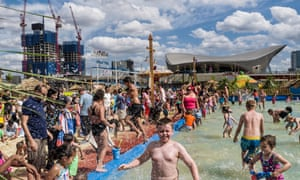 The Queen Elizabeth Olympic Park next to the former 2012 Olympic Aquatic Center - from July 11th 2015 till the end of August there has been a tempoary beach and funfair installed.