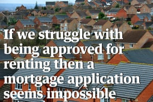 City roofs with quote: 'If we struggle with being approved for renting then a mortgage application seems impossible.'